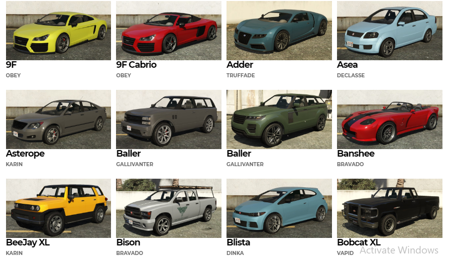 GTA 5 Cars List With Pictures